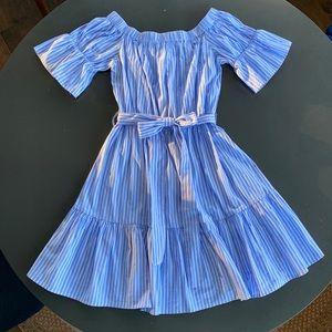Blue & White Pinstripe Off-the-Shoulder Dress